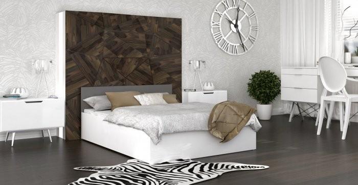 Krevet Panama - 140x200 cm bijela-siva